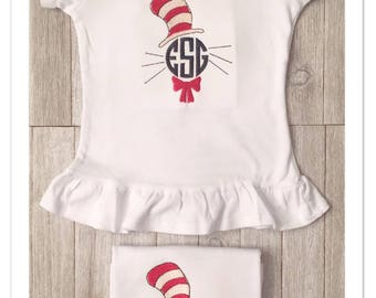 Dr Seuss Cat in The Hat Monogram | Happy Birthday Dr Seuss