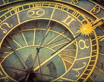 Prague Print, Prague Art, Prague Photography, Astronomical Clock, Yellow, Mint, Purple, Medieval, Travel Print, Fine Art Photography