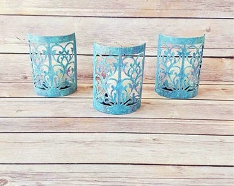 Rustic Candle Holders | Turquoise Candle Holders | Farmhouse Home Decor | Rustic Wedding Decor | Vintage Chic Candle Holders