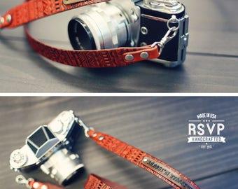 Custom Camera Strap, GPS Coordinates, Longitude and Latitude, leather camera strap, Personalized camera strap, dslr camera, Aztec, Tribal