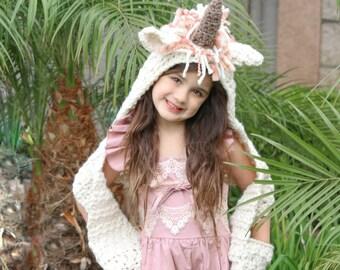 Hooded unicorn scarf, crochet unicorn, hooded scarf,  childs scarf, unicorns, girls gift idea, photo prop