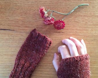 Burgundy Red Fingerless Gloves / Wool Gloves / Accessories / Women's Clothing