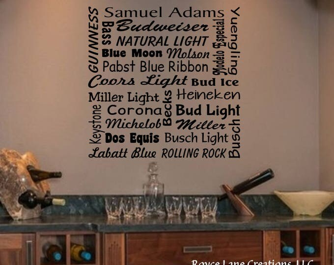 Beer Names Bar Wall Decal - Beer Names Bar Decal - Beer Wall Decal Beer Decoration-Wall Beer Decor-Bar Decal- Beer Bar- Bar Decor