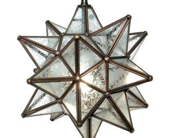 """Moravian Star Pendant Light, Glue Chip Glass, Dark Frame 12"""""""