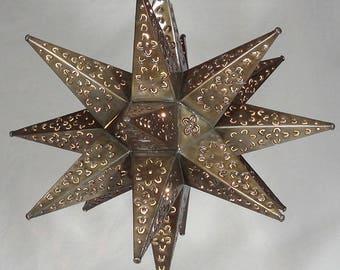 """Moravian Star Light, Flower Pierced Tin, Bronze, 18"""""""