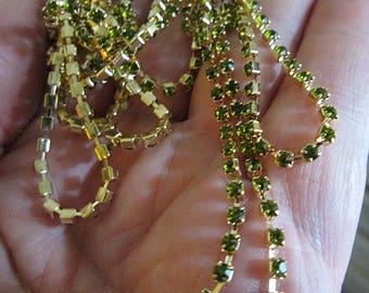 Petite Peridot Crystal and Brass Chain