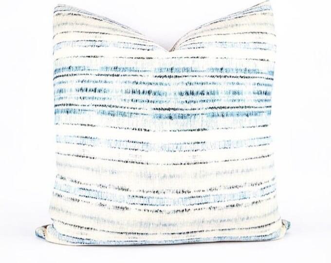 Belgian Linen Indigo and Blue Tribal Textile Pillow Cover 20x20