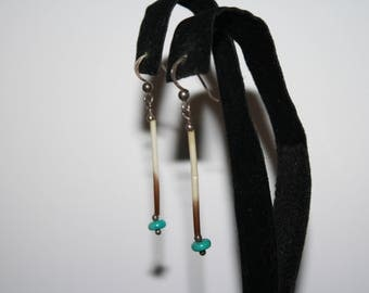 Vintage Sterling Silver Natural Shell and turquoise earrings | Pierced Dangle