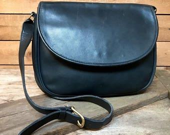 Vintage USA Coach Large Flap Messenger Bag Vtg Navy Blue Leather Crossbody Purse Made in USA