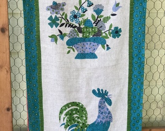Set of 2 Luther Travis Linen Towels Rooster and Flower Basket/One Turquoise One Melon Pink/15 x 29 inches/1960s/Mid Century Kitchen