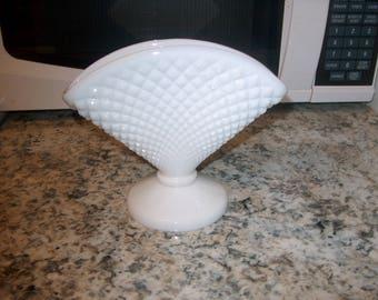 Vintage Westmoreland Milk Glass Fan Vase, English Hobnail