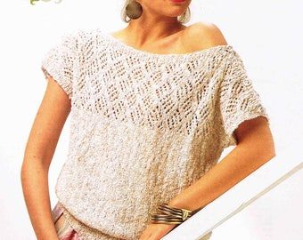 Lady Top Pullover Sweater Jumper - Size 76 to 102 cm (30 to 40 inches) - Sirdar Sunseeker DK Collection 7147 - Vintage Knitting Pattern