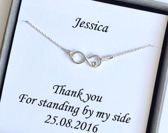 Bridesmaid Necklace, Sterling Silver Infinity Necklace, Infinity with Crystal Necklace, Bridal Jewelry, Bridesmaids Infinity Necklace