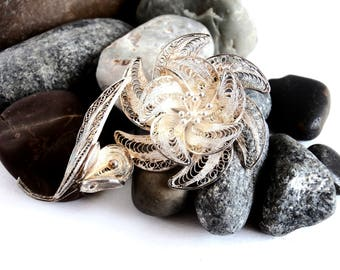 Silver Brooch - Sterling Silver - Vintage Jewellery - Filigree Brooch