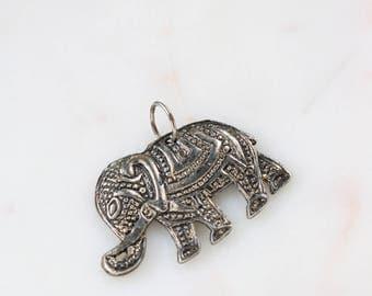 Silver Elephant Pendant - Boho Elephant Pendant