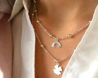 Necklaces with aluminum chain with beads and pendants in 925 silver