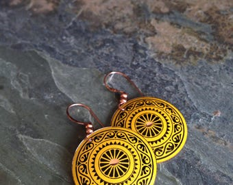 Yellow & Black Painted Copper Folk Art Sunburst Earrings