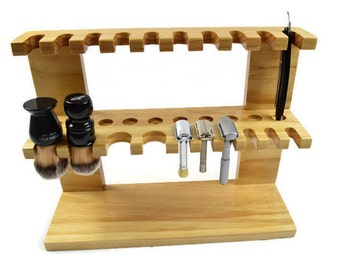 "The Ultimate Wood shaving Razor and Brush double decker stand 16"" wide, Men's gift"