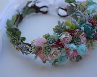 Aqua & Pink Succulent Flower Crown - Rose and Succulent Flower Girl Crown - Children's Photo Prop- Flower Girl Halo - Statement Flower Halo