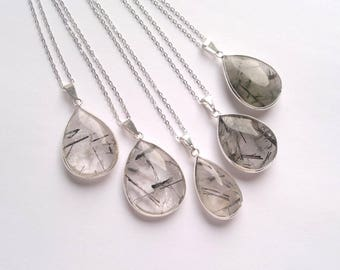 Rutilated Quartz Necklace Teardrop Necklace Black Rutile Quartz Pendant Crystal Teardrop Tourmalated Quartz Necklace Quartz Jewelry Silver