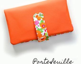 Portefeuille femme complet, portefeuille en Liberty Betsy fluo, 2 couleurs possible, porte-monnaie, cartes, chéquier, papiers