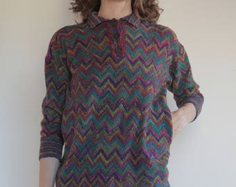 80's Missoni classic zig zag wool sweater/ iconic Italian style