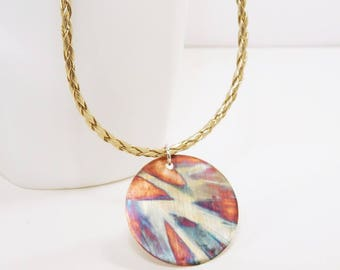 Unique Necklace & Circle Pendant - Multi Colored - Flame Painted Patina Copper - Contemporary Jewelry - Hand Made in Canada
