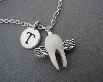 Tooth Fairy Necklace, Tooth Fairy Keychain, Custom Tooth Fairy Bangle Bracelet, Kids Lost Loose Tooth, Childhood Memories Initial Necklace