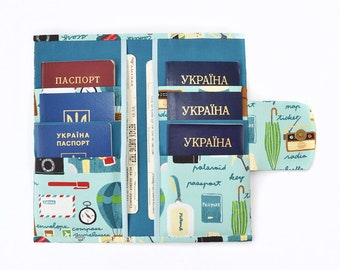 Travel wallet zipper Travel gifts for women Family passport holder Travel holder Passport cover Passport wallet Travel passport holder