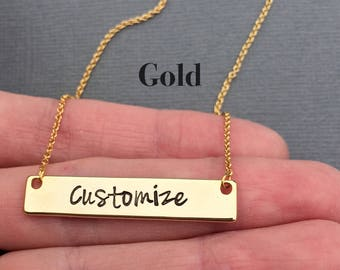 GOLD Bar Necklace, Personalized Necklace, Hand Stamped Necklace, Gold Necklace, Mother's Day Jewelry, Graduation Gift, Bridesmaid Gift
