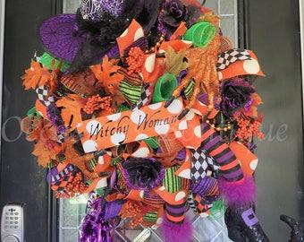 Wicked Witch Halloween Wreath, Halloween Wreath, Deco Mesh Wreath, Halloween Decoration, Ready to Ship