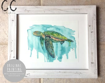 "Original Watercolor Painting - ""Honu"", Original Art, Original Painting, Original Artwork, Original Watercolor, Ocean Art"