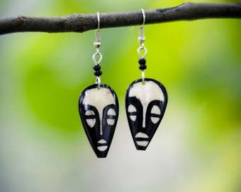 African mask earrings handmade in Kenya
