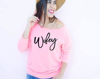 Wifey Shirt 3/4 Sleeve Terry Raw Edge Top, S-2XL, Wedding Apparel, Future Mrs Apparel, Bride Apparel, Wife Gift, Mom Life