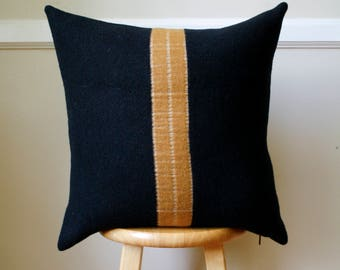Black and Gold Stripe Wool  Pillow Cover - 20x20