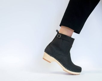 Leather Clog Boots for Women High Heel Wooden Base Boots Swedish Clog Shoes Nubuck Brown Leather Low Heel Shoe Sandgrens New York