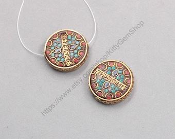 29mm Tibetan Brass Beads Nepal Style Bead Handmade Supplies Wholesale GY-F122204