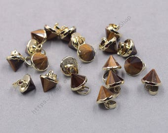 10mm Faceted Tiger Eye Jasper Small Tower Pendants -- With Electroplated Gold Edge Gemstone Charms Wholesale Supplies YHA-339