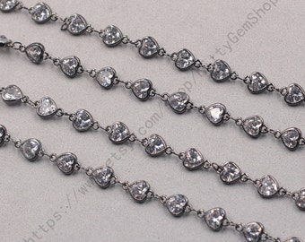 1ft, Heart White Zircon Connector Chain With Black Gold Plated -- Faceted Rosary Chains Wholesale Handmade Craft Supply CQA-091