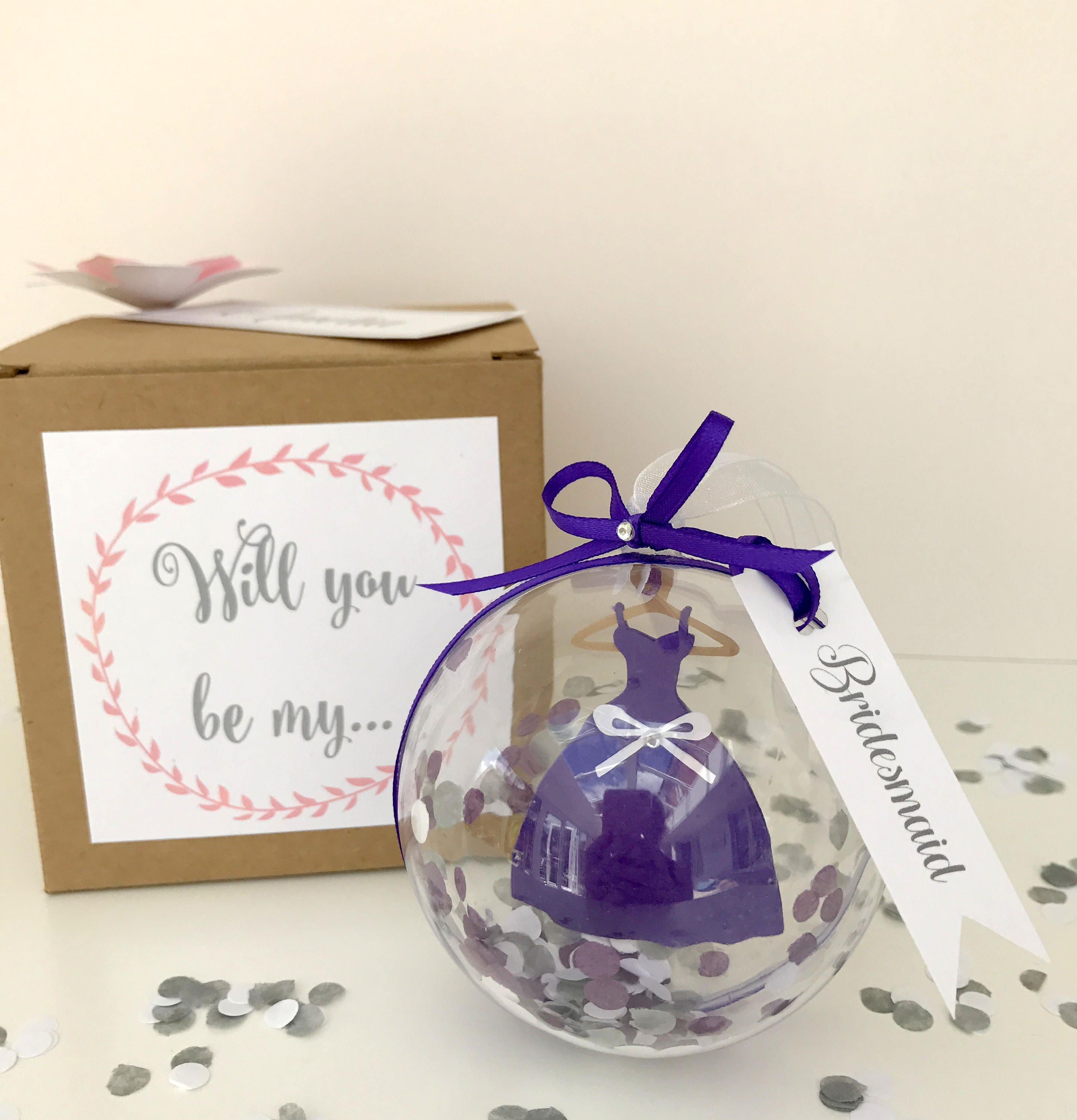 Will you be my bridesmaid dress bauble ball ornament surprise will you be my bridesmaid dress bauble ball ornament surprise reveal with personalised keepsake gift box ombrellifo Image collections