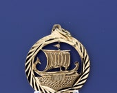 Greek Boat of War Medallion  14K