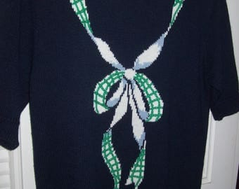 Sweater Medium, Susan Bristol Collection, Navy Pullover, SEE THE BACK !  details