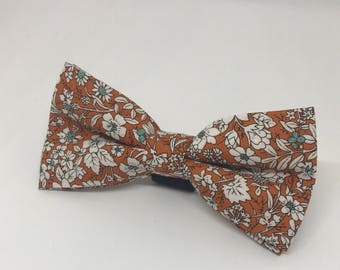 Rust Orange and White Floral Dog Bowtie for Wedding Dog Outfit Pet Wedding Fancy Bow Tie  Dog Collar