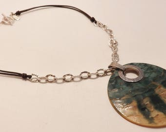 Stunning Sterling Silver Large Abalone Shell Pendant Necklace