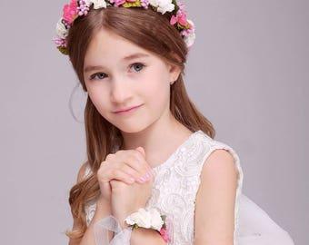 Fuschia White 2 PC/Set Girl Flower Wreath Crown Floral Headband Garland Wristband Wedding