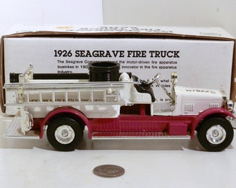 1926 Seagrave Pumper Fire engine bank, Made by Ertl, Die cast bank
