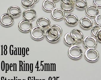 Sterling SIlver 4.5mm Open Jumpring, 30 pieces, 925, 18 Gauge