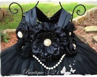 Black Flower Girl Dress, Black Tutu Dress, Black Tulle Dress, Black Dress, Black Wedding, Black, Flower Girl Dress