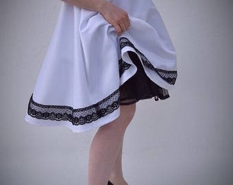 White Satin Petticoat Dress with Black Lace &Belt