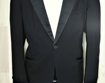 Pierre Cardin Tuxedo Jacket/ c. 1970's/ Men's Vintage Black Dinner Jacket/ Satin Lapels